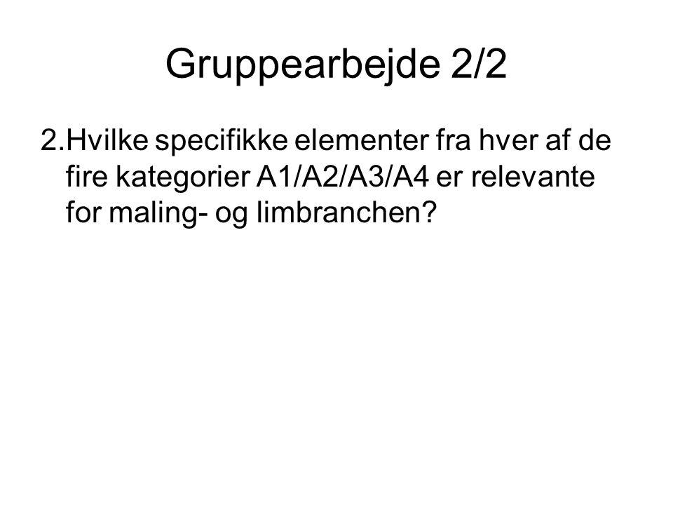 Gruppearbejde 2/2 2.Hvilke specifikke elementer fra hver af de fire kategorier A1/A2/A3/A4 er relevante for maling- og limbranchen
