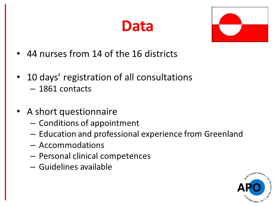 Data 44 nurses from 14 of the 16 districts 10 days' registration of all consultations – 1861 contacts A short questionnaire – Conditions of appointment – Education and professional experience from Greenland – Accommodations – Personal clinical competences – Guidelines available