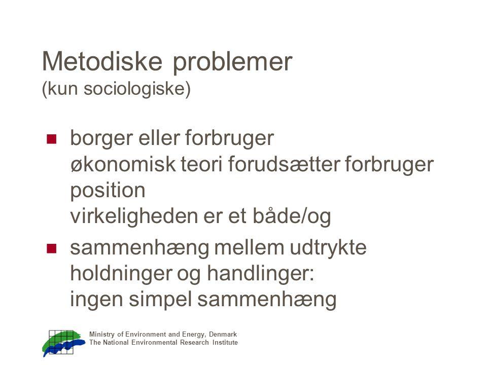 Ministry of Environment and Energy, Denmark The National Environmental Research Institute Metodiske problemer (kun sociologiske) borger eller forbruger økonomisk teori forudsætter forbruger position virkeligheden er et både/og sammenhæng mellem udtrykte holdninger og handlinger: ingen simpel sammenhæng