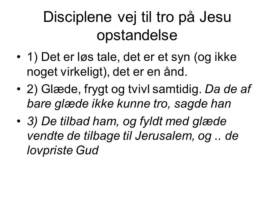 Disciplene vej til tro på Jesu opstandelse 1) Det er løs tale, det er et syn (og ikke noget virkeligt), det er en ånd.