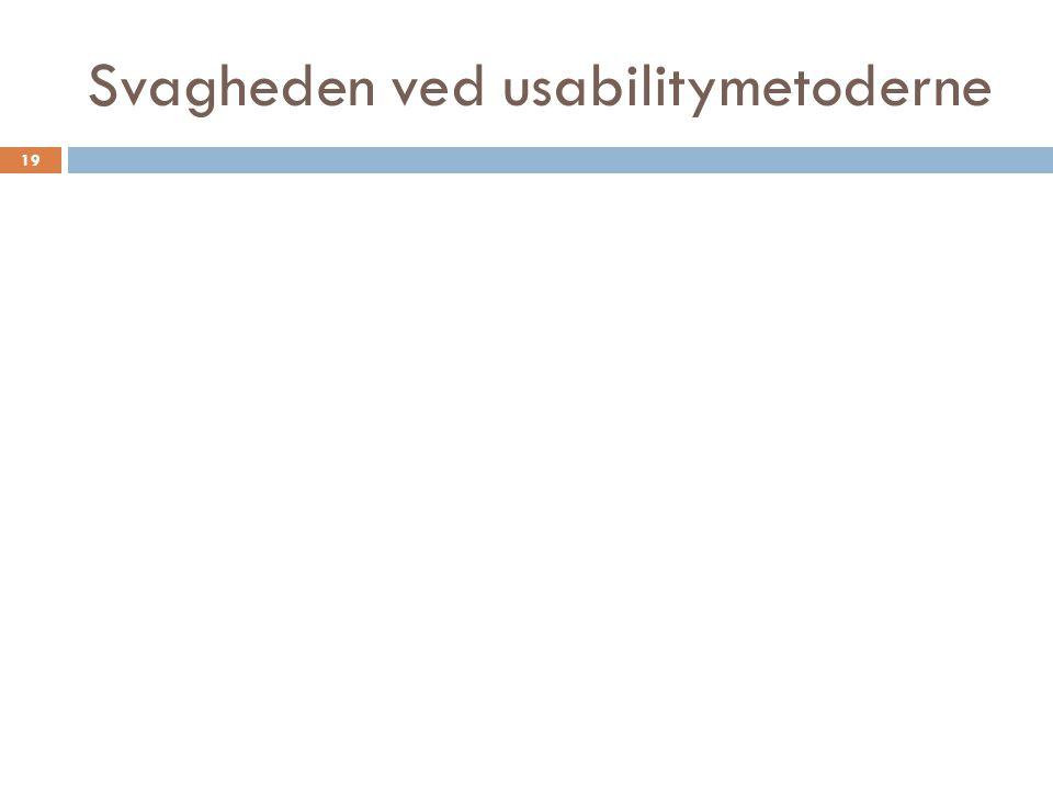 Svagheden ved usabilitymetoderne 19