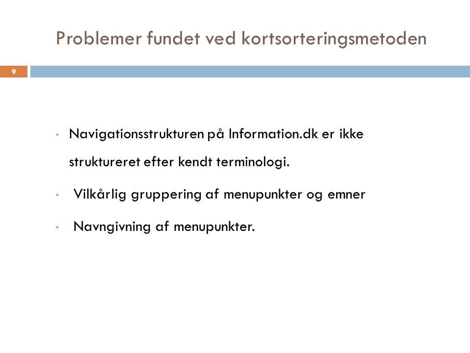 Problemer fundet ved kortsorteringsmetoden Navigationsstrukturen på Information.dk er ikke struktureret efter kendt terminologi.
