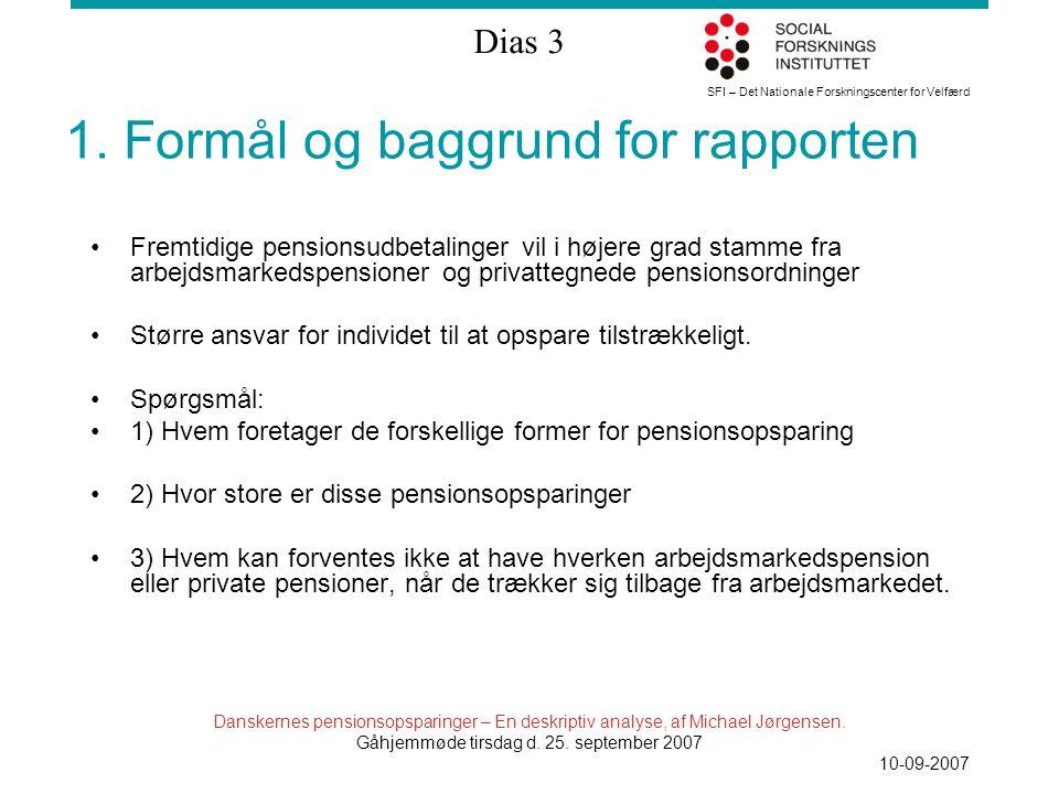 SFI – Det Nationale Forskningscenter for Velfærd Dias 3 Danskernes pensionsopsparinger – En deskriptiv analyse, af Michael Jørgensen.