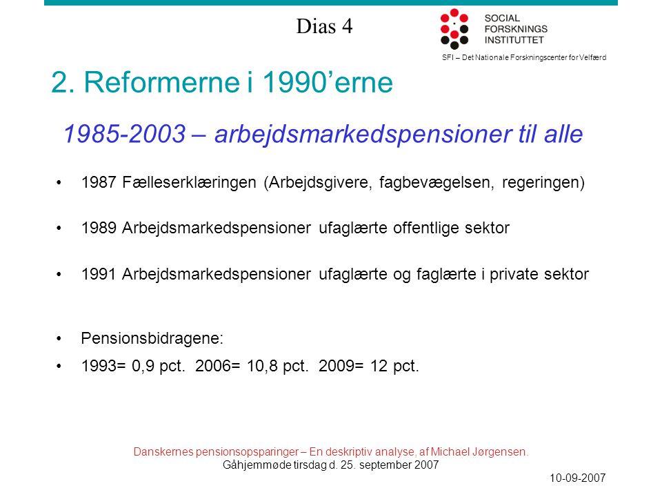 SFI – Det Nationale Forskningscenter for Velfærd Dias 4 Danskernes pensionsopsparinger – En deskriptiv analyse, af Michael Jørgensen.