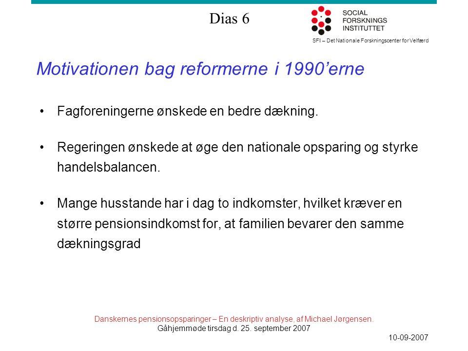 SFI – Det Nationale Forskningscenter for Velfærd Dias 6 Danskernes pensionsopsparinger – En deskriptiv analyse, af Michael Jørgensen.