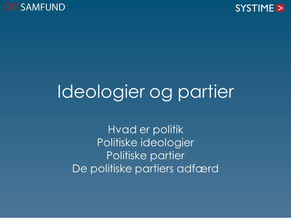 Ideologier og partier Hvad er politik Politiske ideologier Politiske partier De politiske partiers adfærd