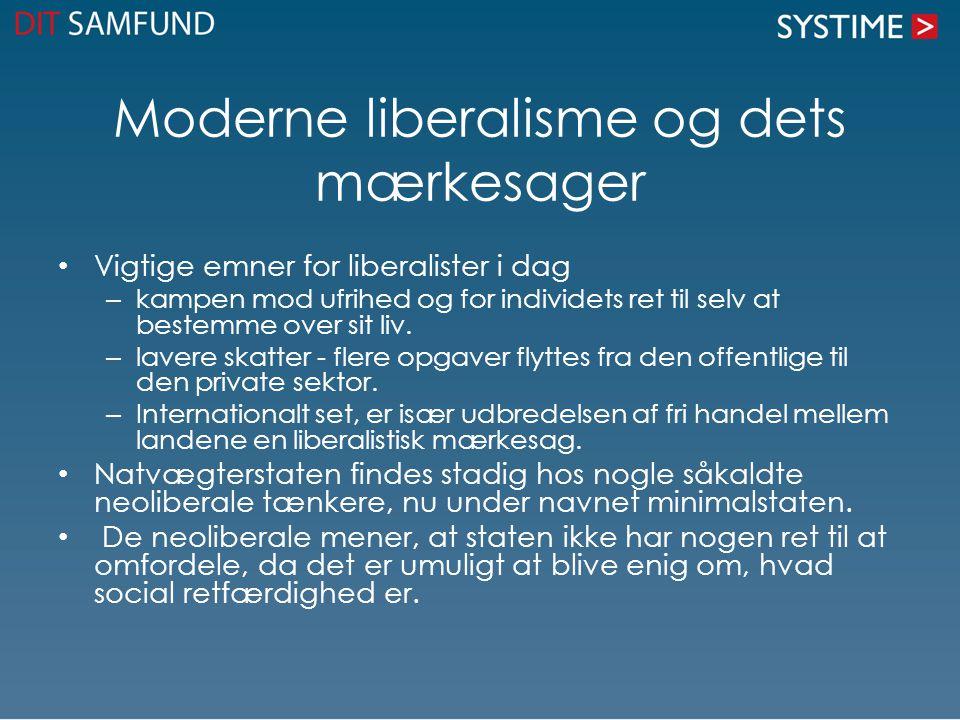 Moderne liberalisme og dets mærkesager Vigtige emner for liberalister i dag – kampen mod ufrihed og for individets ret til selv at bestemme over sit liv.