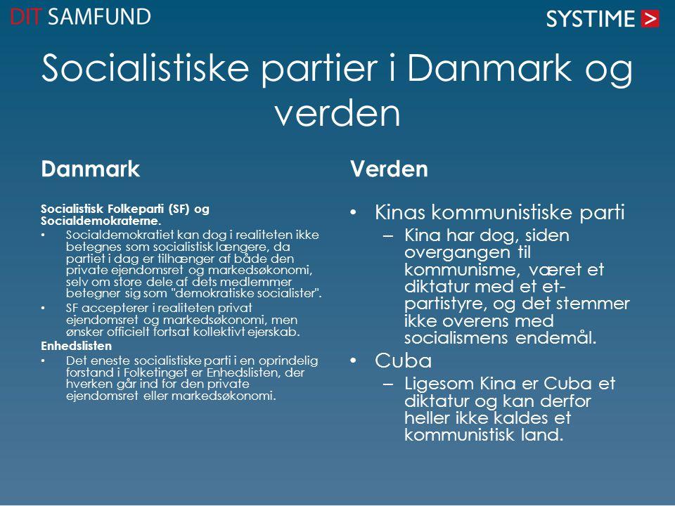 Socialistiske partier i Danmark og verden Danmark Socialistisk Folkeparti (SF) og Socialdemokraterne.