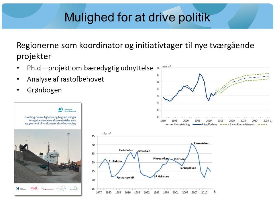 Mulighed for at drive politik Regionerne som koordinator og initiativtager til nye tværgående projekter Ph.d – projekt om bæredygtig udnyttelse Analyse af råstofbehovet Grønbogen