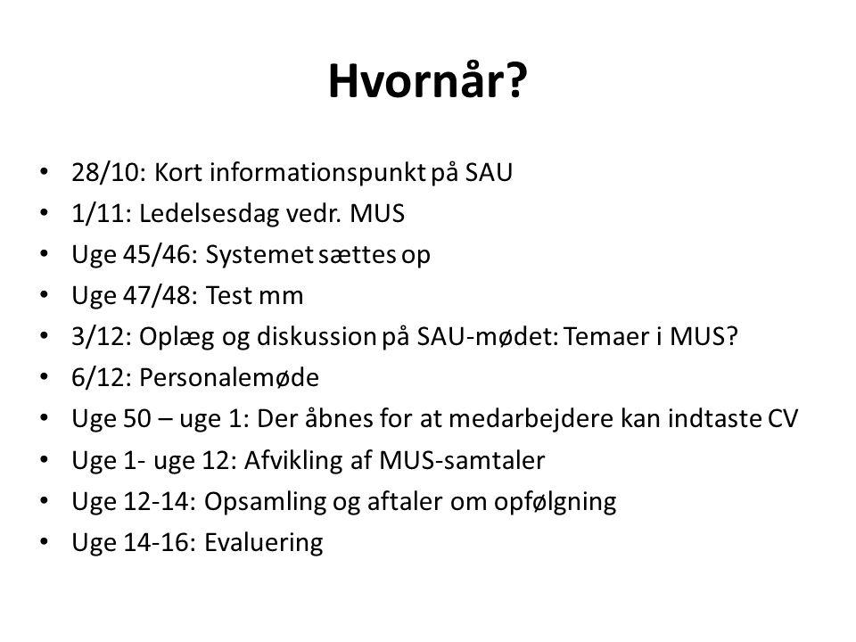 Hvornår. 28/10: Kort informationspunkt på SAU 1/11: Ledelsesdag vedr.