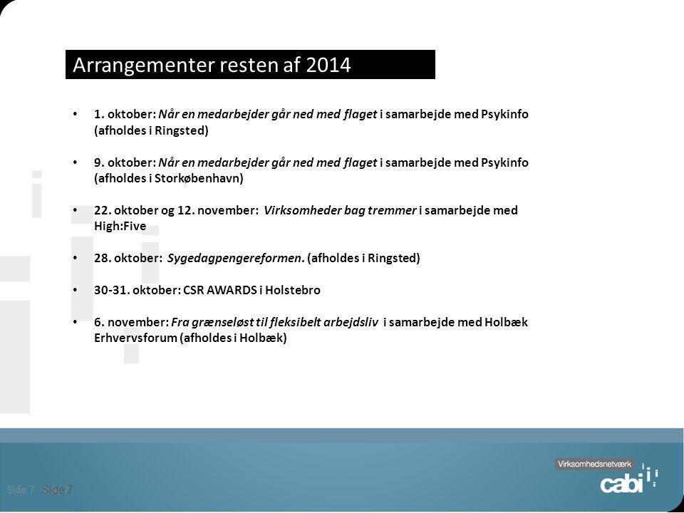 Side 7 Arrangementer resten af 2014 Side 7 1.