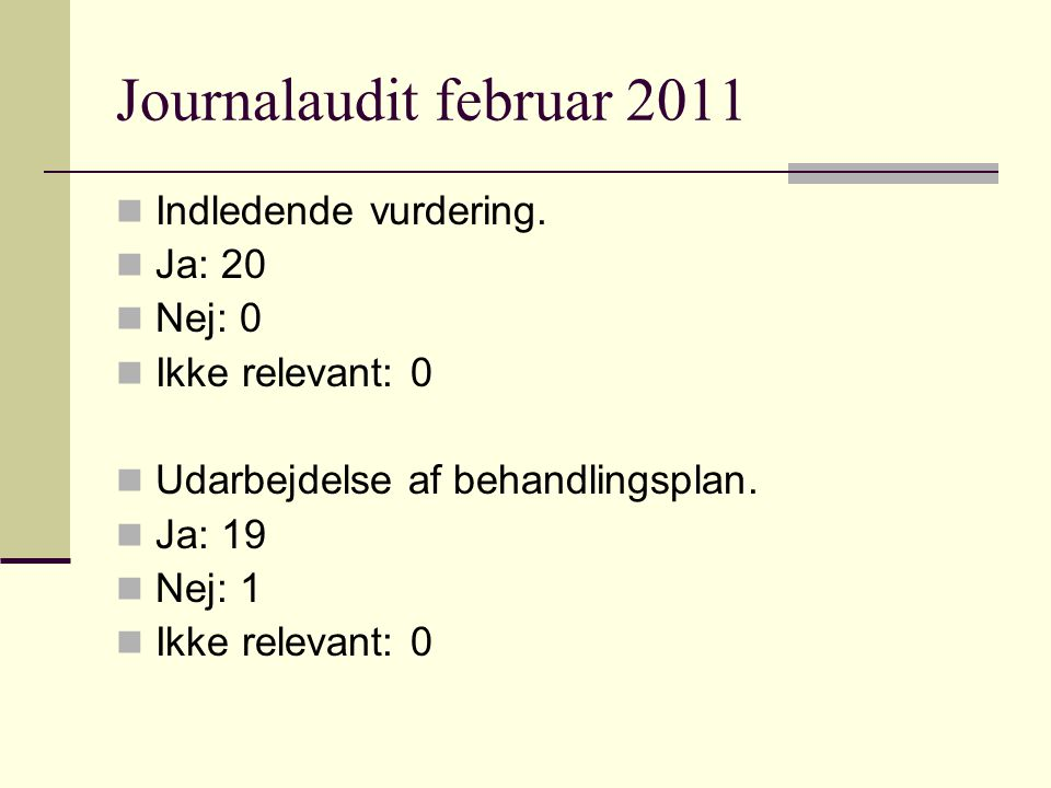 Journalaudit februar 2011 Indledende vurdering.
