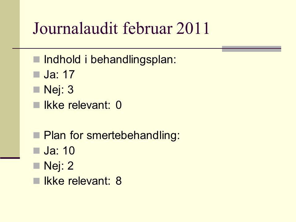 Journalaudit februar 2011 Indhold i behandlingsplan: Ja: 17 Nej: 3 Ikke relevant: 0 Plan for smertebehandling: Ja: 10 Nej: 2 Ikke relevant: 8