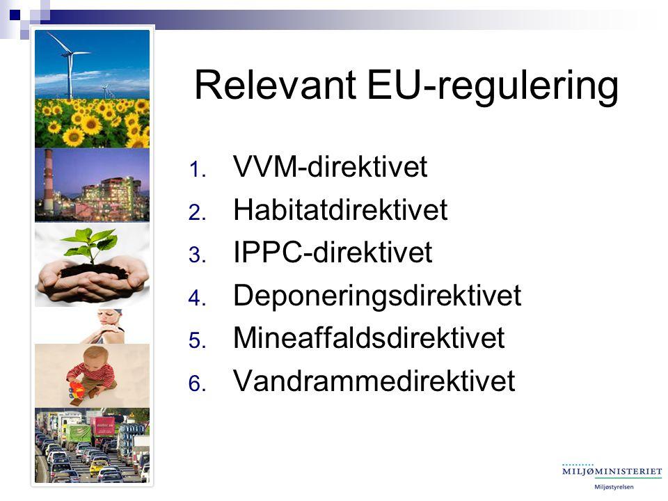 Relevant EU-regulering 1. VVM-direktivet 2. Habitatdirektivet 3.