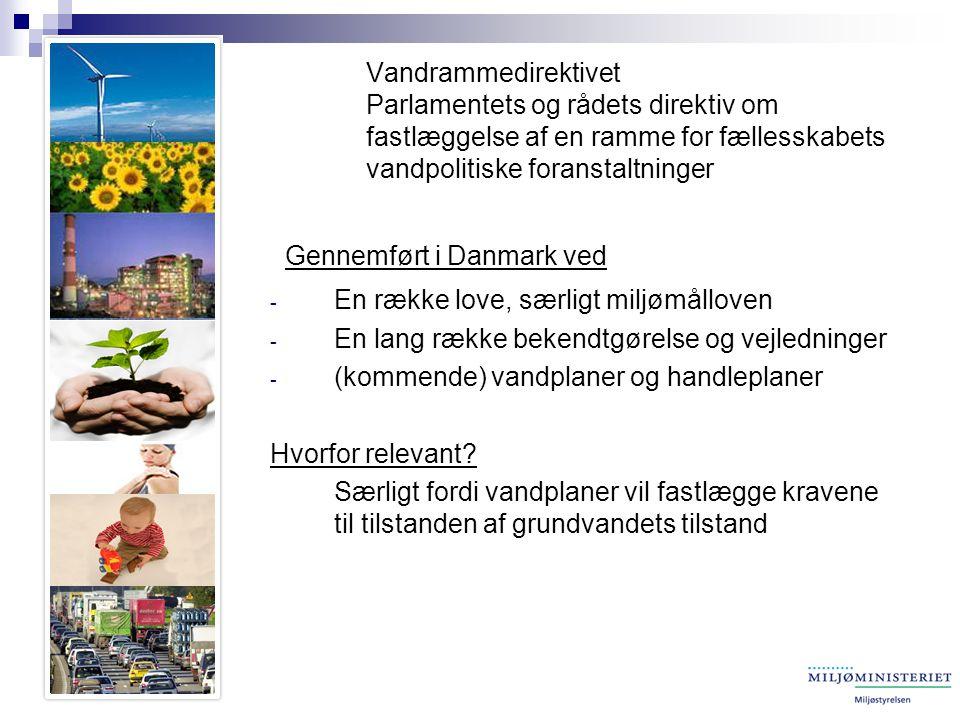 Vandrammedirektivet Parlamentets og rådets direktiv om fastlæggelse af en ramme for fællesskabets vandpolitiske foranstaltninger Gennemført i Danmark ved - En række love, særligt miljømålloven - En lang række bekendtgørelse og vejledninger - (kommende) vandplaner og handleplaner Hvorfor relevant.