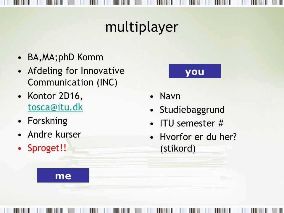 multiplayer BA,MA;phD Komm Afdeling for Innovative Communication (INC) Kontor 2D16, tosca@itu.dk tosca@itu.dk Forskning Andre kurser Sproget!.