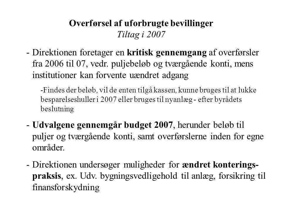 Overførsel af uforbrugte bevillinger Tiltag i 2007 -Direktionen foretager en kritisk gennemgang af overførsler fra 2006 til 07, vedr.