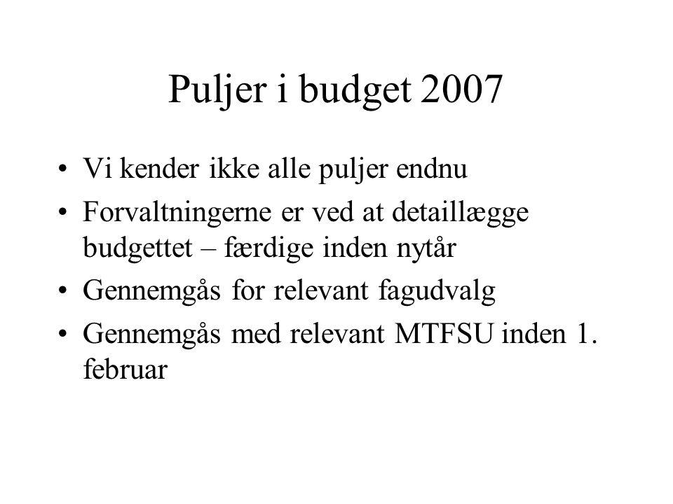 Puljer i budget 2007 Vi kender ikke alle puljer endnu Forvaltningerne er ved at detaillægge budgettet – færdige inden nytår Gennemgås for relevant fagudvalg Gennemgås med relevant MTFSU inden 1.
