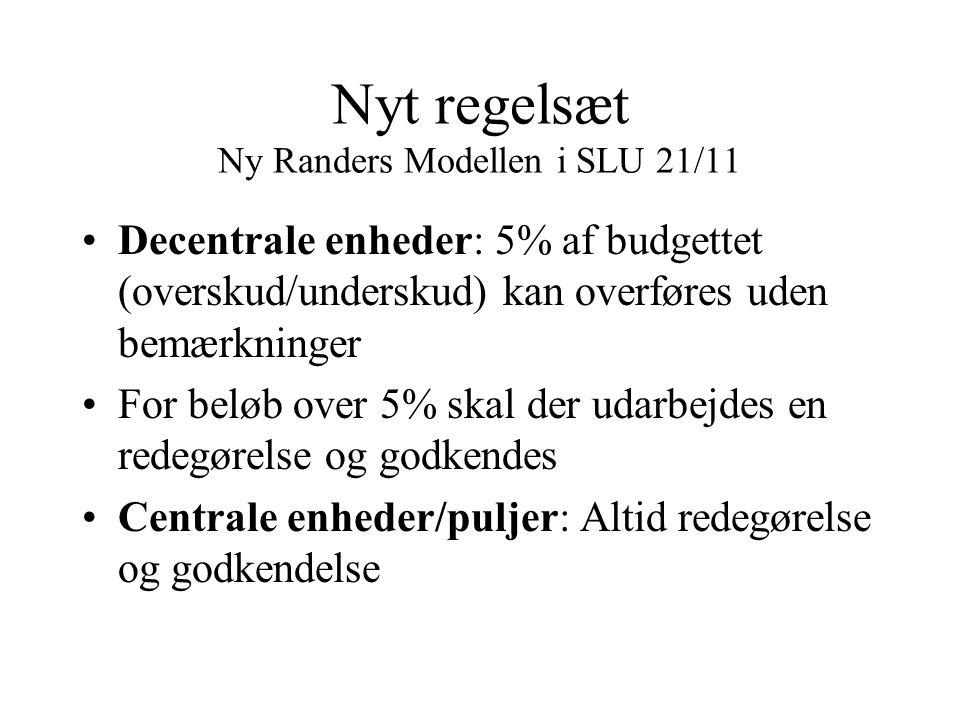 Nyt regelsæt Ny Randers Modellen i SLU 21/11 Decentrale enheder: 5% af budgettet (overskud/underskud) kan overføres uden bemærkninger For beløb over 5% skal der udarbejdes en redegørelse og godkendes Centrale enheder/puljer: Altid redegørelse og godkendelse