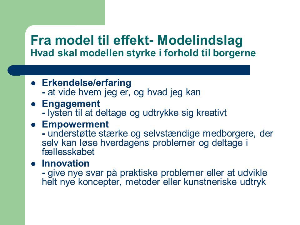 Fra model til effekt- Modelindslag Hvad skal modellen styrke i forhold til borgerne Erkendelse/erfaring - at vide hvem jeg er, og hvad jeg kan Engagement - lysten til at deltage og udtrykke sig kreativt Empowerment - understøtte stærke og selvstændige medborgere, der selv kan løse hverdagens problemer og deltage i fællesskabet Innovation - give nye svar på praktiske problemer eller at udvikle helt nye koncepter, metoder eller kunstneriske udtryk
