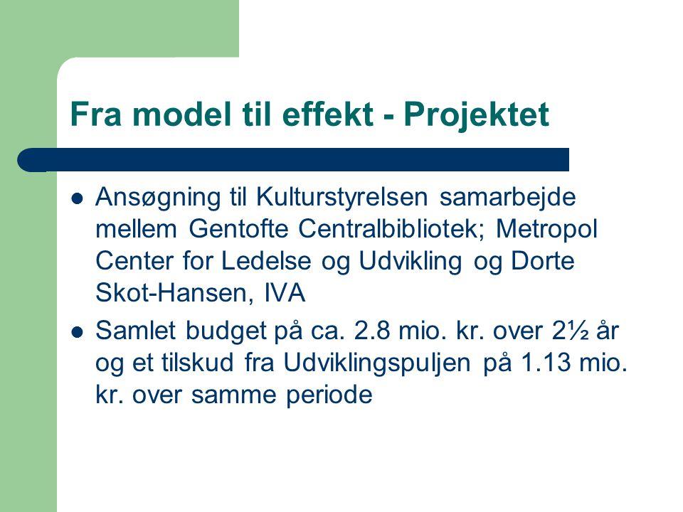 Fra model til effekt - Projektet Ansøgning til Kulturstyrelsen samarbejde mellem Gentofte Centralbibliotek; Metropol Center for Ledelse og Udvikling og Dorte Skot-Hansen, IVA Samlet budget på ca.