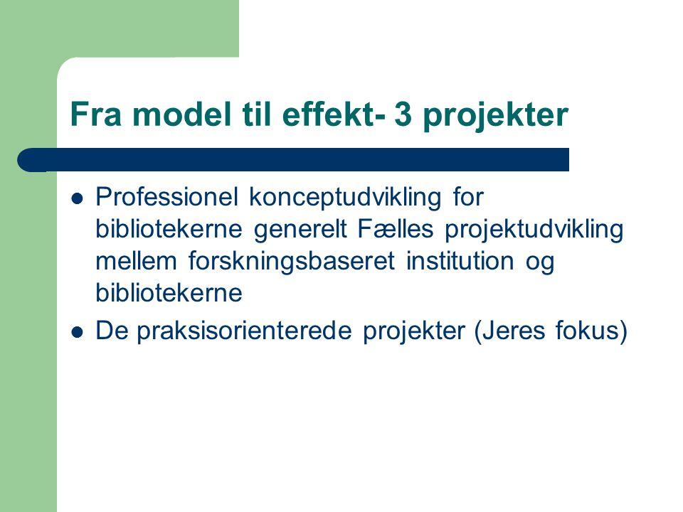 Fra model til effekt- 3 projekter Professionel konceptudvikling for bibliotekerne generelt Fælles projektudvikling mellem forskningsbaseret institution og bibliotekerne De praksisorienterede projekter (Jeres fokus)