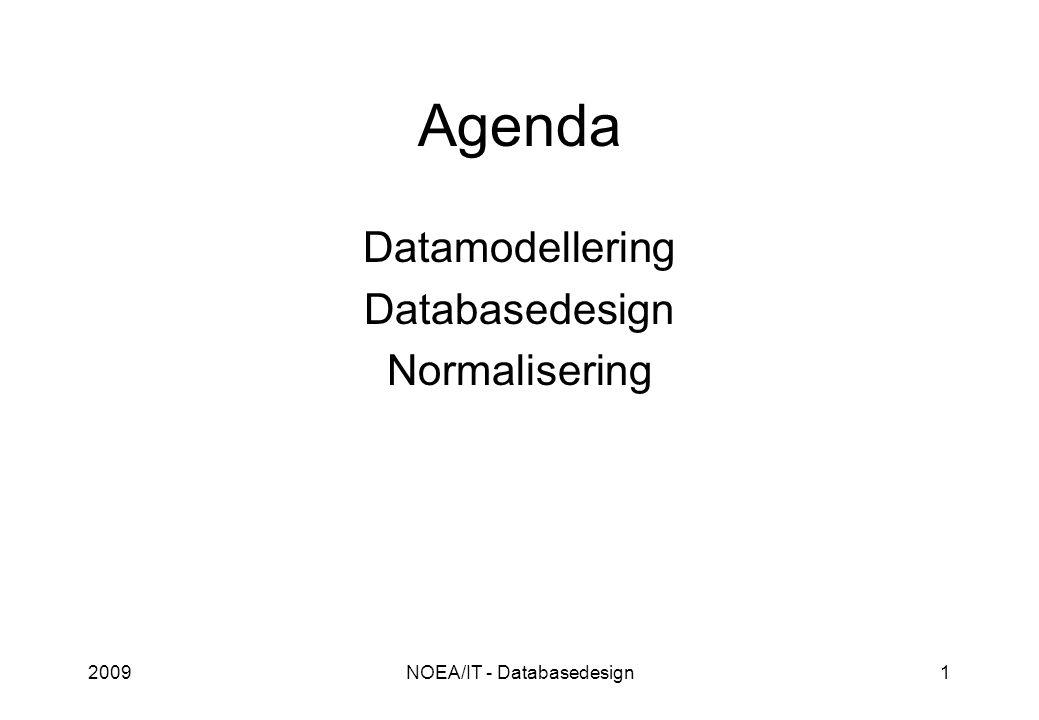 2009NOEA/IT - Databasedesign1 Agenda Datamodellering Databasedesign Normalisering