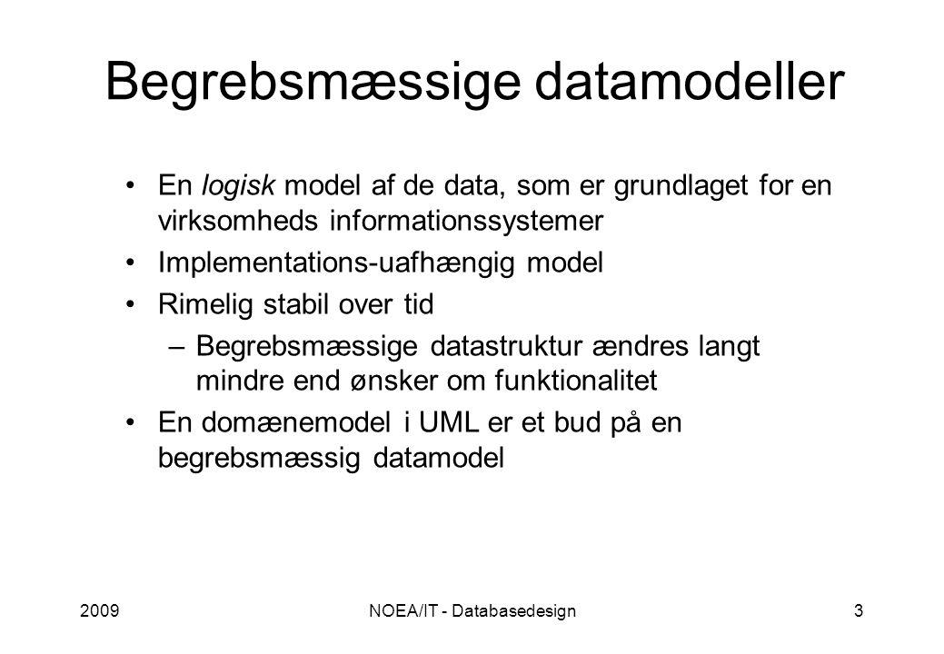 2009NOEA/IT - Databasedesign3 Begrebsmæssige datamodeller En logisk model af de data, som er grundlaget for en virksomheds informationssystemer Implementations-uafhængig model Rimelig stabil over tid –Begrebsmæssige datastruktur ændres langt mindre end ønsker om funktionalitet En domænemodel i UML er et bud på en begrebsmæssig datamodel