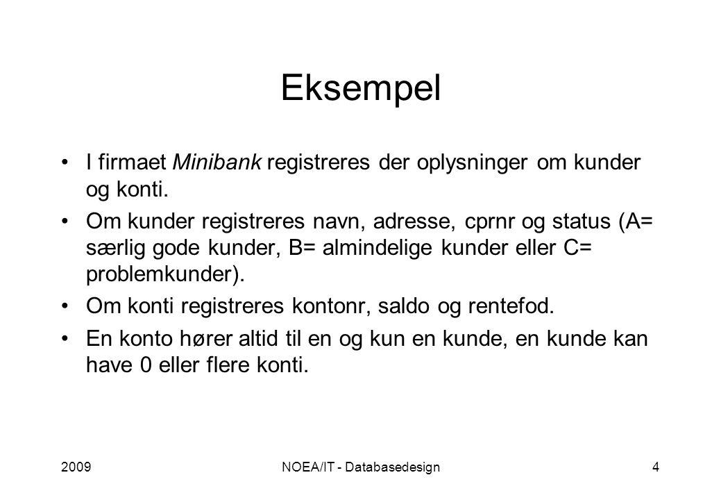 2009NOEA/IT - Databasedesign4 Eksempel I firmaet Minibank registreres der oplysninger om kunder og konti.