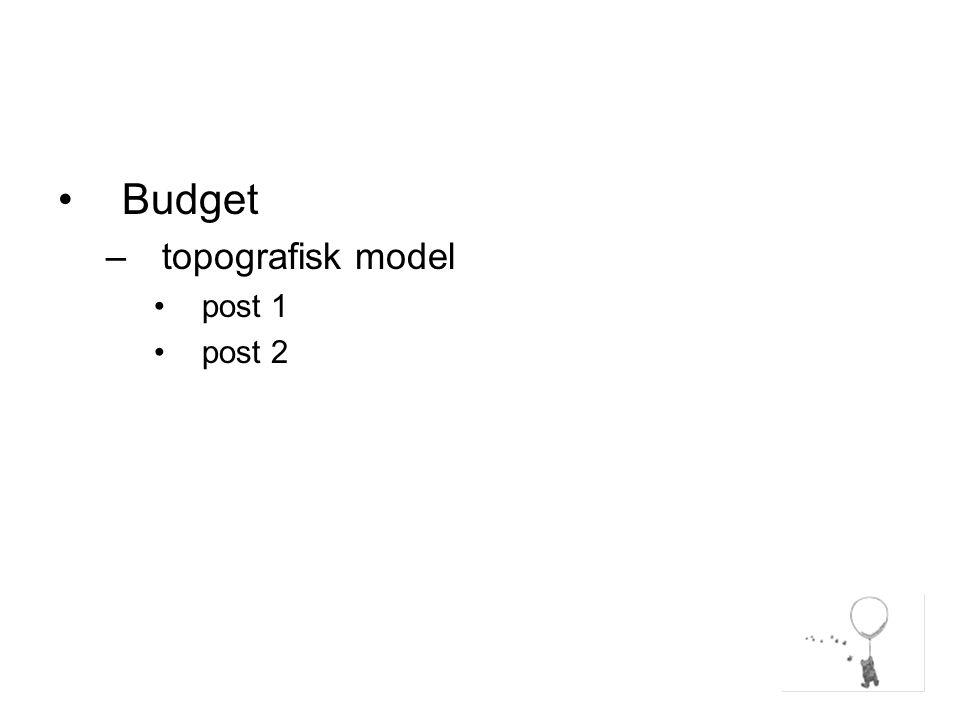 Budget –topografisk model post 1 post 2