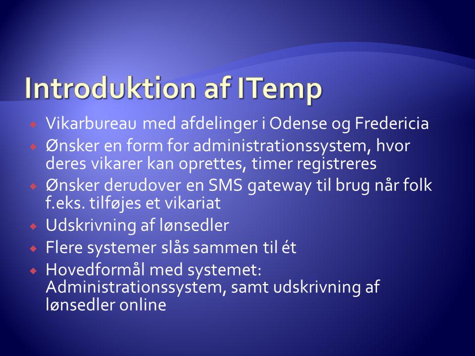  Vikarbureau med afdelinger i Odense og Fredericia  Ønsker en form for administrationssystem, hvor deres vikarer kan oprettes, timer registreres  Ønsker derudover en SMS gateway til brug når folk f.eks.