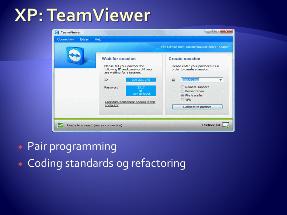  Pair programming  Coding standards og refactoring