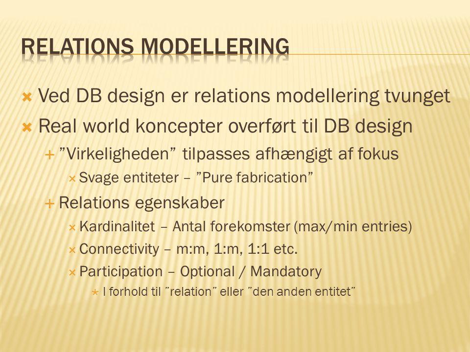  Ved DB design er relations modellering tvunget  Real world koncepter overført til DB design  Virkeligheden tilpasses afhængigt af fokus  Svage entiteter – Pure fabrication  Relations egenskaber  Kardinalitet – Antal forekomster (max/min entries)  Connectivity – m:m, 1:m, 1:1 etc.