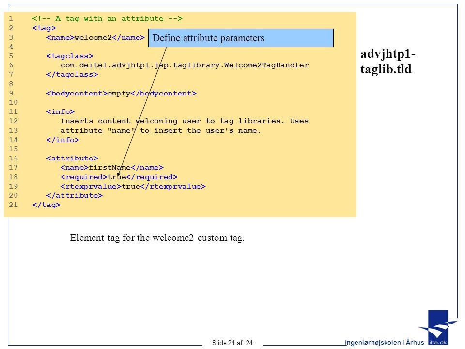 Ingeniørhøjskolen i Århus Slide 24 af 24 advjhtp1- taglib.tld 1 2 3 welcome2 4 5 6 com.deitel.advjhtp1.jsp.taglibrary.Welcome2TagHandler 7 8 9 empty 10 11 12 Inserts content welcoming user to tag libraries.