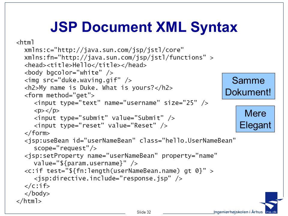 Ingeniørhøjskolen i Århus Slide 32 JSP Document XML Syntax Samme Dokument! Mere Elegant