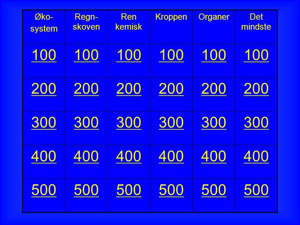 Øko- system Regn- skoven Ren kemisk KroppenOrganerDet mindste 100 200 300 400 500