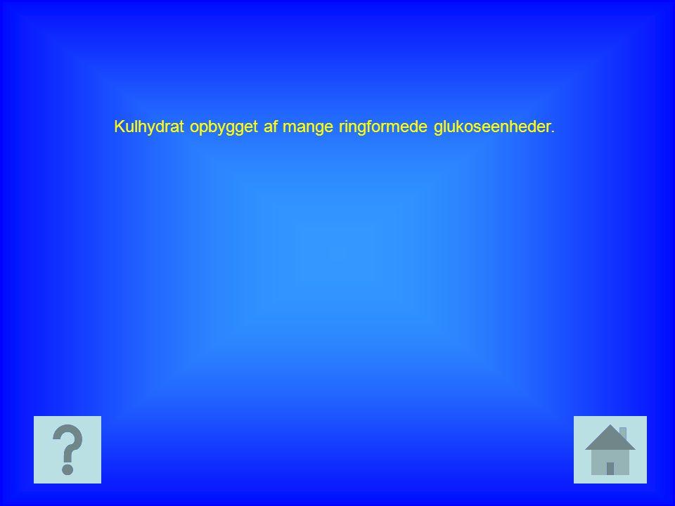 Kulhydrat opbygget af mange ringformede glukoseenheder.