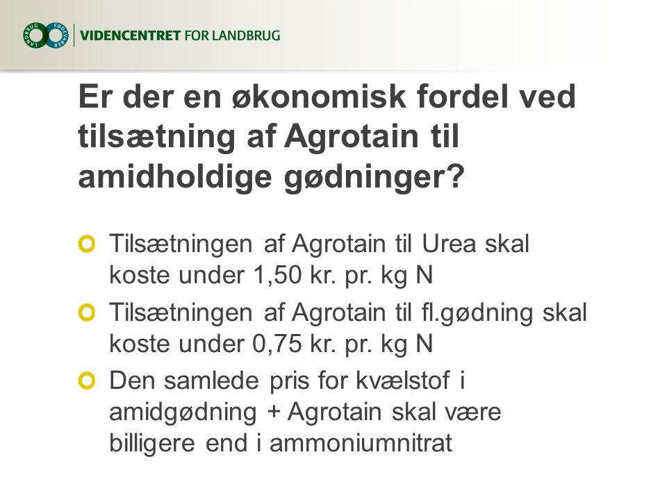 Er der en økonomisk fordel ved tilsætning af Agrotain til amidholdige gødninger.