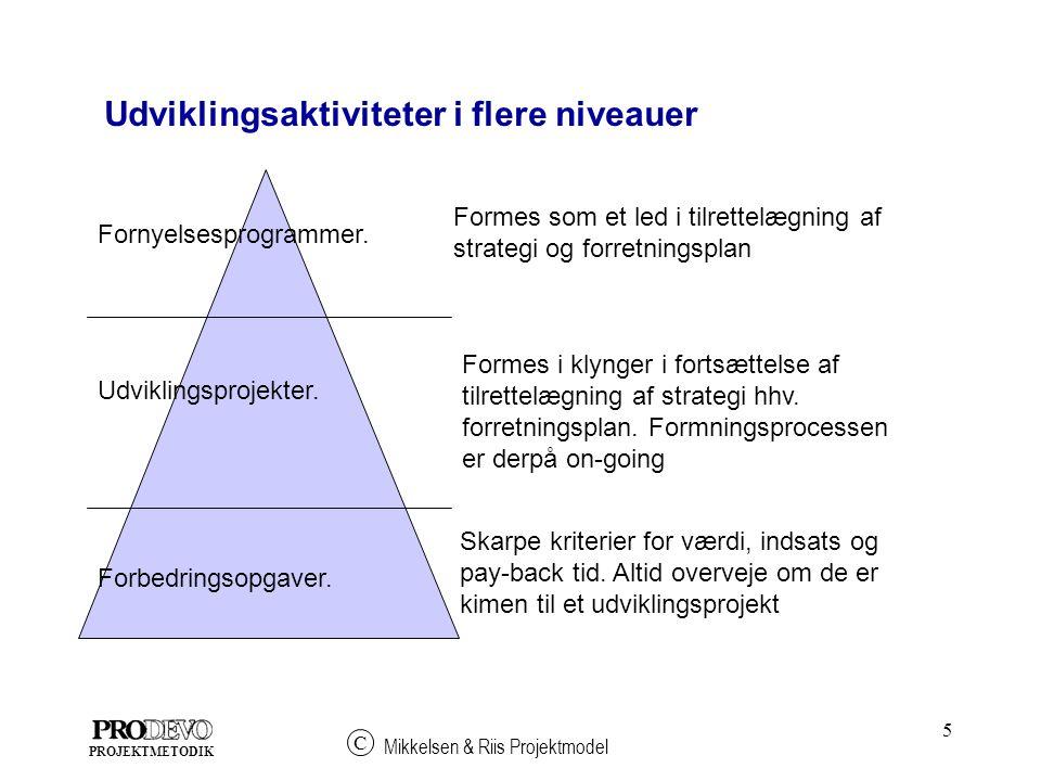 5 Mikkelsen & Riis Projektmodel C PROJEKTMETODIK Fornyelsesprogrammer.