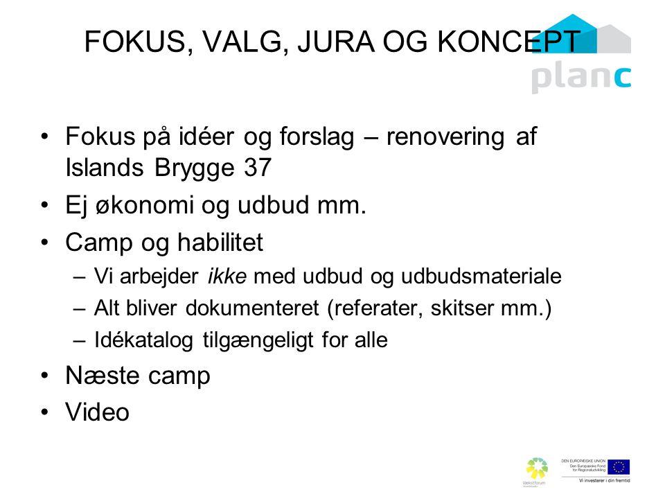FOKUS, VALG, JURA OG KONCEPT Fokus på idéer og forslag – renovering af Islands Brygge 37 Ej økonomi og udbud mm.