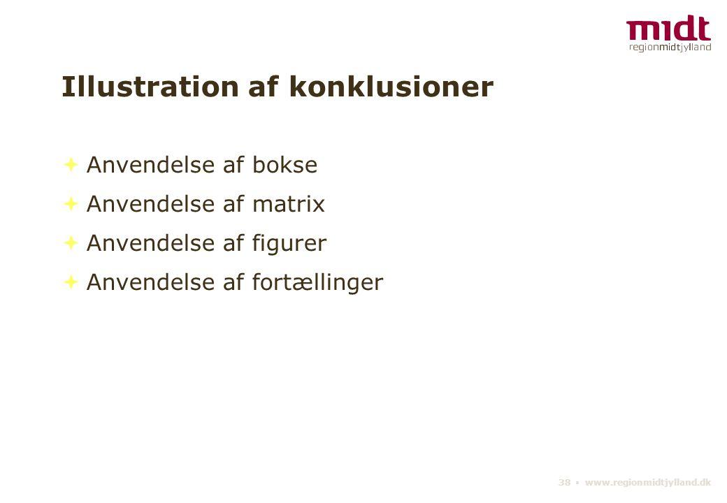 38 ▪ www.regionmidtjylland.dk Illustration af konklusioner  Anvendelse af bokse  Anvendelse af matrix  Anvendelse af figurer  Anvendelse af fortællinger