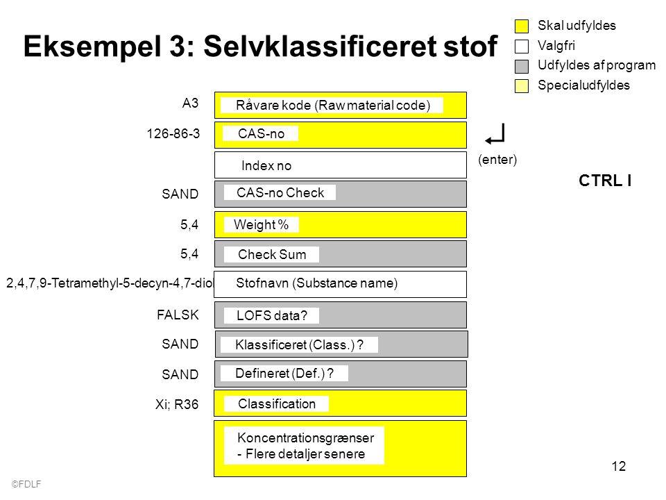 ©FDLF 12 Eksempel 3: Selvklassificeret stof Valgfri Skal udfyldes Udfyldes af program Specialudfyldes Råvare kode (Raw material code) A3 CAS-no 126-86-3 CAS-no Check SAND LOFS data.
