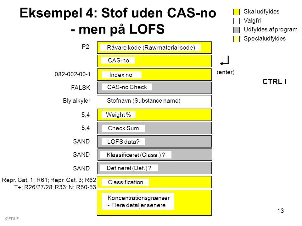 ©FDLF 13 Eksempel 4: Stof uden CAS-no - men på LOFS Valgfri Skal udfyldes Udfyldes af program Specialudfyldes Råvare kode (Raw material code) P2 CAS-no CAS-no Check FALSK Weight % 5,4 Check Sum 5,4 LOFS data.
