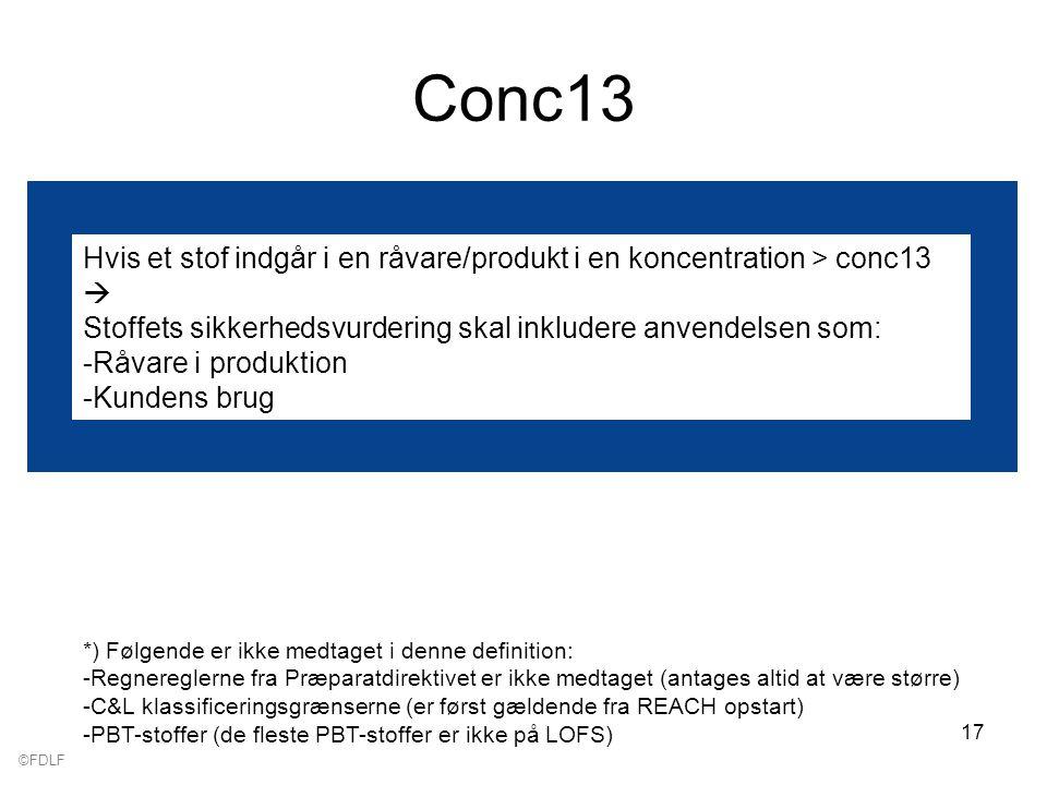 ©FDLF 17 Conc13 Hvis et stof indgår i en råvare/produkt i en koncentration > conc13  Stoffets sikkerhedsvurdering skal inkludere anvendelsen som: -Råvare i produktion -Kundens brug *) Følgende er ikke medtaget i denne definition: -Regnereglerne fra Præparatdirektivet er ikke medtaget (antages altid at være større) -C&L klassificeringsgrænserne (er først gældende fra REACH opstart) -PBT-stoffer (de fleste PBT-stoffer er ikke på LOFS)