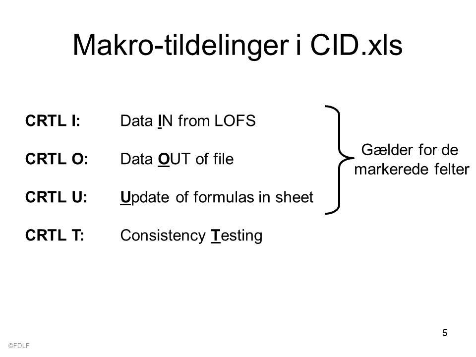 ©FDLF 5 Makro-tildelinger i CID.xls CRTL I:Data IN from LOFS CRTL O:Data OUT of file CRTL U:Update of formulas in sheet CRTL T:Consistency Testing Gælder for de markerede felter