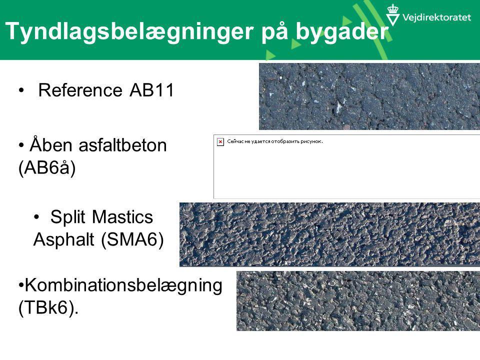 Tyndlagsbelægninger på bygader Reference AB11 Åben asfaltbeton (AB6å) Split Mastics Asphalt (SMA6) Kombinationsbelægning (TBk6).