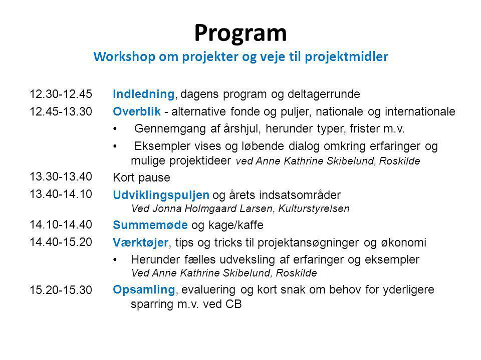 Program Workshop om projekter og veje til projektmidler 12.30-12.45 12.45-13.30 13.30-13.40 13.40-14.10 14.10-14.40 14.40-15.20 15.20-15.30 Indledning, dagens program og deltagerrunde Overblik - alternative fonde og puljer, nationale og internationale Gennemgang af årshjul, herunder typer, frister m.v.