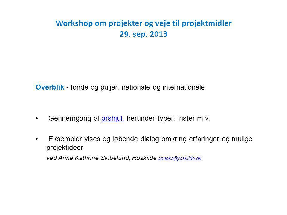 Workshop om projekter og veje til projektmidler 29.