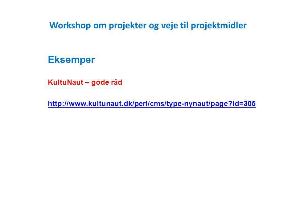 Workshop om projekter og veje til projektmidler Eksemper KultuNaut – gode råd http://www.kultunaut.dk/perl/cms/type-nynaut/page Id=305