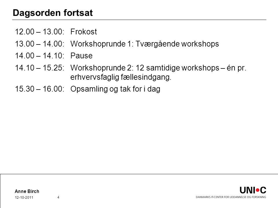 Dagsorden fortsat 12.00 – 13.00:Frokost 13.00 – 14.00: Workshoprunde 1: Tværgående workshops 14.00 – 14.10: Pause 14.10 – 15.25:Workshoprunde 2: 12 samtidige workshops – én pr.
